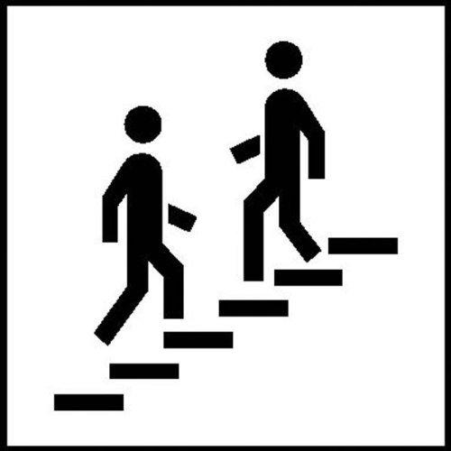 INDIGOS UG - Symbolschilder zur Raumkennzeichnung selbstklebend, selbstklebende Folie 10x10cm - Treppe - Warnung - Sicherheit - Hotel, Firma, Haus