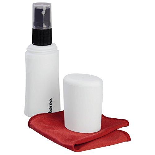 Hama Bildschirmreiniger Set mit Reinigungsspray und Microfasertuch (45ml, Display-Reiniger für Tablet- und Smartphone Touchscreens, Laptops, PCs, TVs, Screen-Cleaner Reinigungsset) weiß (Cleaner Screen Laptop Tv)