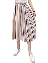 Hosenrock Damen Elegant Sommerhose 3 4 Hose Fashion Mädchen Gestreift  Elastische Taille Chiffon Strandhose Breites Bein HosenMädchen… 0b8bfc91a3
