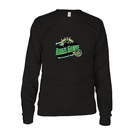 Greetings from Angel Grove Green - Herren Langarm T-Shirt, Größe: XXL, Farbe: schwarz (Schwarz Mighty Morphin Power Rangers Kostüm)
