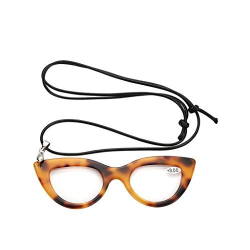 Style-magnifier Hohes Vielfaches Harz Verkettete Lesebrille, Teller Exquisite Brillengestell für Damen Pullover Kettenschmuck Und Lesen Zeitung für Ältere Menschen Einfach zu bedienen (Color : Black)