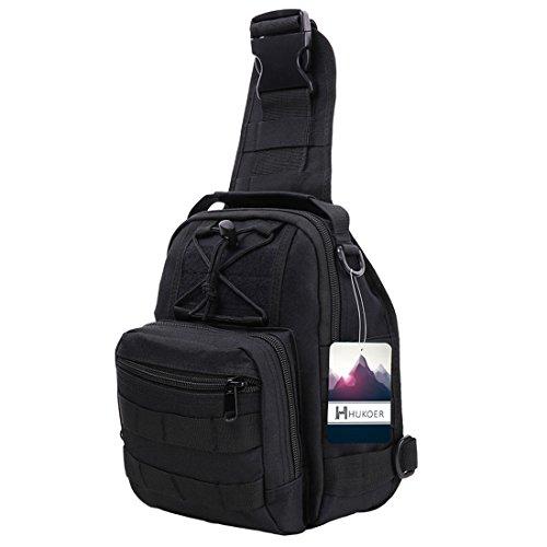 HUKOER Männer Sling Bag Chest Pack Nylon Daypack Outdoor Taktik Rucksack Herren Schultertaschen multifunktionale Brusttasche Umhängetasche Schwarz