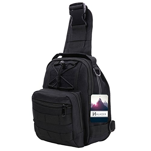 Imagen de hukoer bolsa deportiva de hombro  táctica para hombro al aire libre, bandolera bolso crossbody de nylon multiusos deporte, acampada camping , excursionismo, senderismo trekking negro