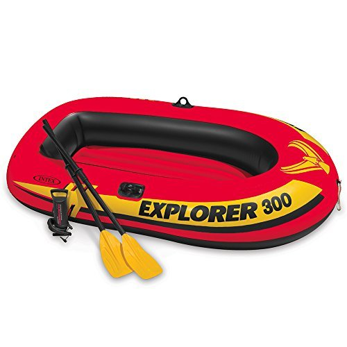 Intex Inflatable Boat with French Oars and Air Pump (Capacity: 1 Adult and 2 Children/410 lbs, Multicolour)