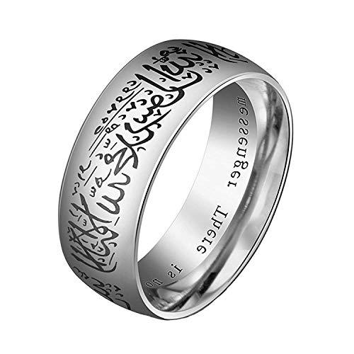 YEBENI Schmuck 8mm Edelstahl Islamischer Ring Titan Stahl islamischer Ring für Männer Ringe (Party-ideen Geburtstag Für Teens Billig)