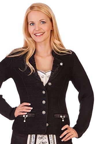 Damen Trachten Strickjanker - PENZBERG - braun, rot, schwarz, wollweiß , Größe XL