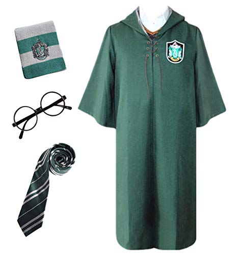 Kostüm Quidditch Deluxe - Monissy Unisex Harry Robe Umhang mit Kapuze Gryffindor Slytherin School Fancy Cloak Deluxe Cosplay Kostüm Kinder Erwachsene Quidditch Robe Halloween Karneval Party Cosplay Rot Grün S-XXL