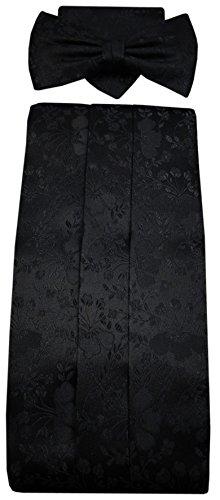 ohne Markenname G7 Kummerbund Einstecktuch Fliege schwarz 100% Seide gemustert Gr. 85 bis 110 cm