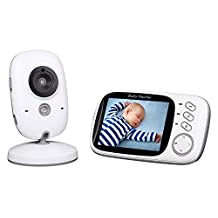 """Baby Monitor, Vigilabebés Inalambrico Bebé Monitor Inteligente de Vídeo Babyphone Seguridad con LCD 3.2"""" y Cámara Digital, Vigilancia de la Temperatura de Visión Nocturnay, 2 Way Talkback System"""
