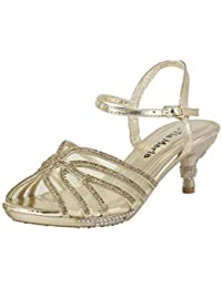 19980bed185 Girls Mid Heel Prom Party Wedding Sandals Childrens Diamante Evening Kids  Shoes Size