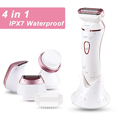 Women Shaver, Ladies Electric Shaver Enthur 4 in 1 Rechargeable Cordless Personal Waterproof Facial Cleansing Brush Bikini Trimmer Hair Razor Remover Shaver Kit for Women