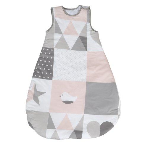 roba Schlafsack, 90cm, Babyschlafsack ganzjahres/ganzjährig, aus atmungsaktiver Baumwolle, Baby- und Kleinkindschlafsack unisex, Kollektion 'Happy Patch rosa'