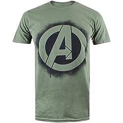 Marvel T-Shirt Stencil Logo Military Green M