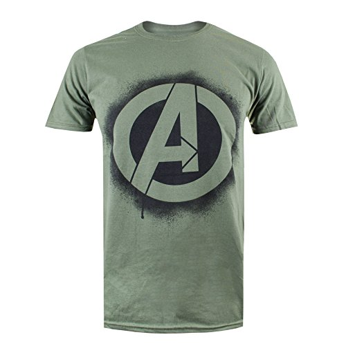 Marvel Herren T-Shirt Stencil Logo, Grün (Military Green), X-Large