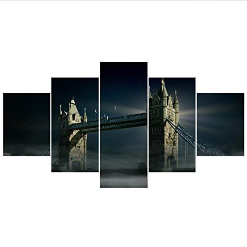 xzfddn London Berühmte Brücke Nacht Gemälde Für Schlafzimmer Wand Kunst Wohnkultur Bild Leinwand Malerei Kalligraphie Für Wohnzimmer
