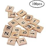 100 piezas de madera del alfabeto Scrabble Azulejos del cuadrado del alfabeto las letras de molde