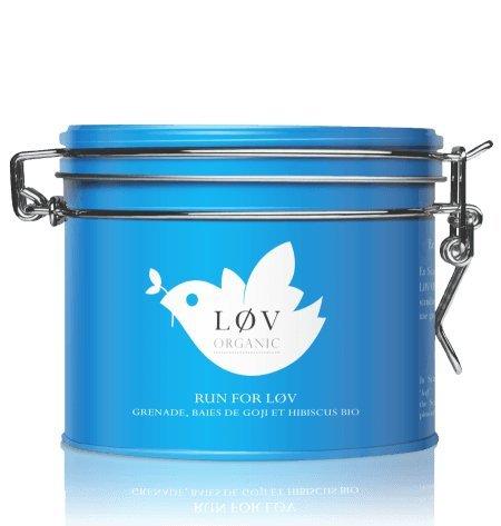 Løv Organic - Boîte métal Run For Løv - infusion Bio (grenade, baies de goji et hibiscus bio) 100g