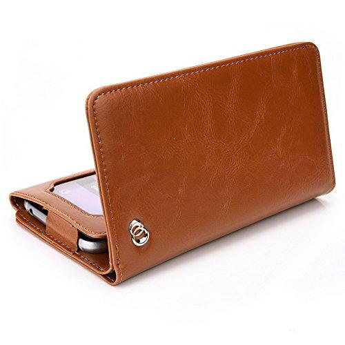 Kroo Portefeuille unisexe avec ZTE Blade G Lux/qlux 4G ajustement universel différentes couleurs disponibles avec affichage écran beige marron