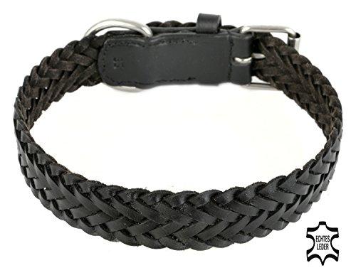 Leder Hundehalsband aus weichem Rindsleder, schwarz, breit, geflochten, für große Hunde Stoff, XL, Premium Qualität (35mm x 55cm) von Monkimau - Dein bester Freund. Immer dabei! (Schwarze Gucci Monogram)