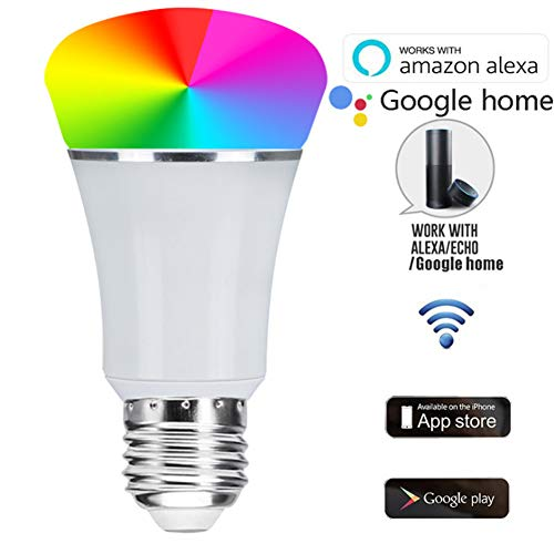 Preisvergleich Produktbild WiFi-Smart-Glühlampe,  Dimmable Smart-WLAN-LED-Glühlampe mit 60W-Äquivalent,  E27-Led-Lampe,  die mit Amazon Alexa kompatibel ist.