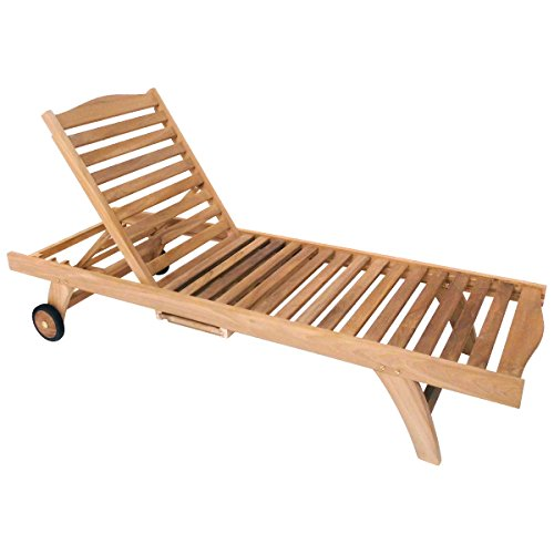 Charles Bentley Wooden Teak Garden Reclining Sun Lounger - Color: Brown