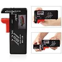 bulingbuling 1 pc Battery Tester Household Battery Checker for AA AAA Small Batteries Button Cell Battery Checker Tester, Black