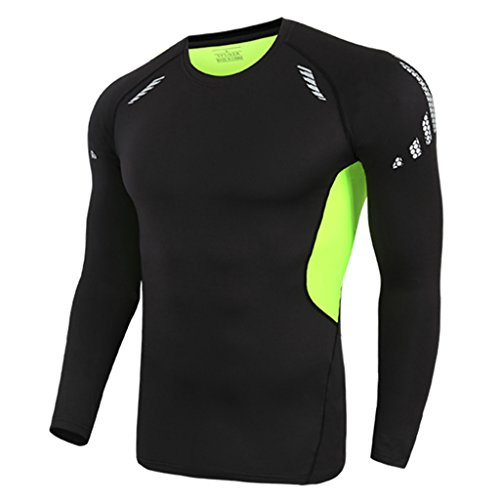Mesh-muskel-shirt (Sharplace Männer Gym Sport T-shirt Fitness Muskel Schnell Trocknend Stretch langarm T-shirt - Schwarz, L)