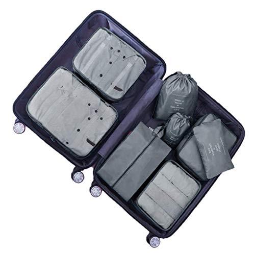 DoGeek - 7pack Organizer Valigia Cubi Organizzatori Organizzatori di Viaggio Cubi Imballaggio Cubi di Imballaggio Packing Cubes - Confezione da 7 taglie (8 pcs grigio)
