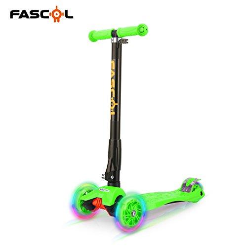 Preisvergleich Produktbild FASCOL® Klappbar Kinderroller Scooter, Grün, 3 Rädern, ab 3-9 Jahren, Glänzend ABEC 5 Radlager, mit Knie Auflage & Ellbogenschützer