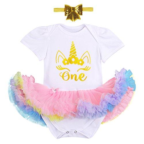 FYMNSI Es ist Mein Erster Geburtstag Baby Mädchen 1 Jahr Outfit Einhorn Regenbogen Tüll Tütü Prinzessin Body Kleid Strampler + Stirnband Set für Geburtstagsparty Fotoshooting Fotografie Geschenk