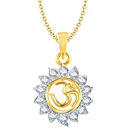 Amaal Om God Pendant with Chain for Men,Women Gold Plated in American Diamond Cz Jewellery GP0102