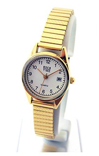 OSCO KLASSIK Damen Armbanduhr Edelstahl-Flexband Datum 'Gold' 03725009