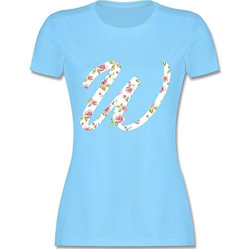 Anfangsbuchstaben - W Rosen - tailliertes Premium T-Shirt mit Rundhalsausschnitt für Damen Hellblau