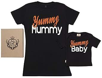 SR - Yummy Mummy & Baby Organic Baby Gift / Men's Mums Gift in Gift Box Black, S & 0-6M