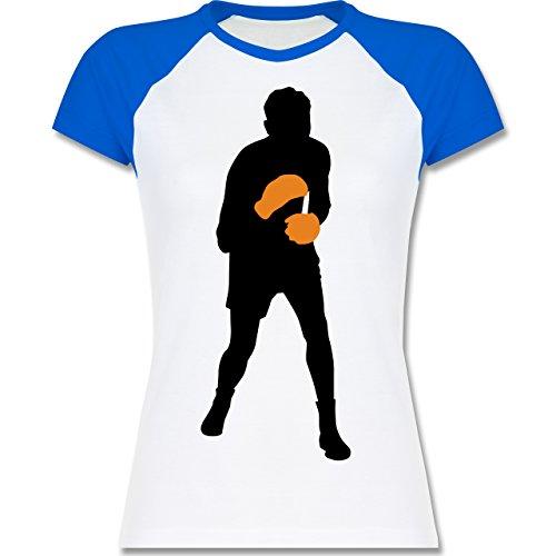 Kampfsport - Boxer - zweifarbiges Baseballshirt / Raglan T-Shirt für Damen Weiß/Royalblau