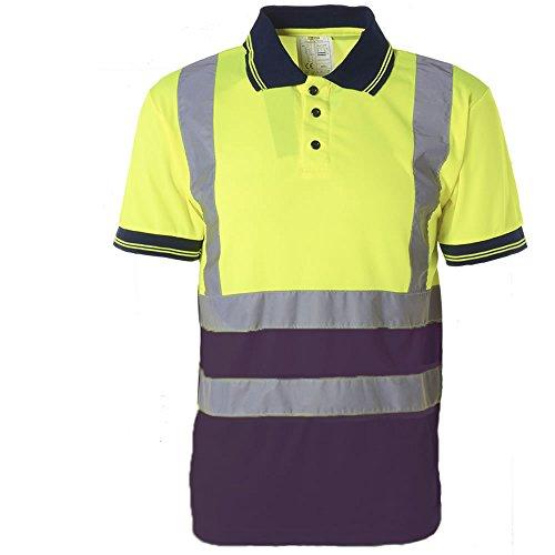 Herren Poloshirt, 2-farbig, Arbeitshemd, mit Reflektoren, hohe Sichtbarkeit, EN471 Gr. M, YELLOW / NAVY -