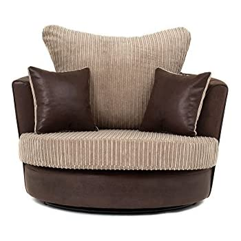Large Swivel Round Cuddle Chair Fabric Chenille Leather ...