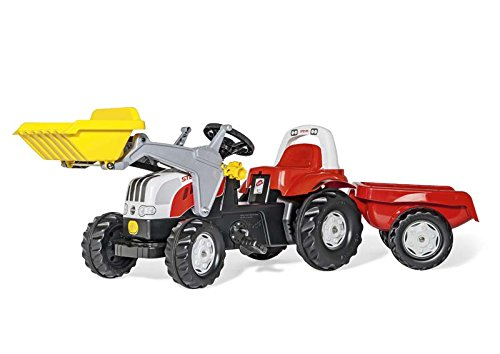 Kleine Einstellbare Anhänger (Rolly Toys Trettraktor rollyKid Steyr 6165 CVT, Kinderfahrzeug mit Flüsterlaufreifen, abnehmbarem Anhänger und Schaufellader, rot / gelb, 23936)