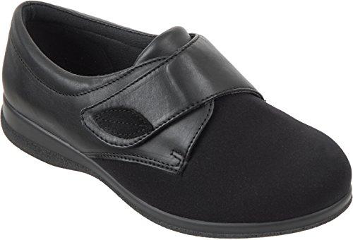 Cosyfeet Karen Schuhe - Besonders geräumig / Extra Roomy (breite Passform M+ Euro / 5E+ Width Fitting UK) - Schwarz, Elasthan/Leder - 40.5 (Extra Breite Schuhe Für Frauen)