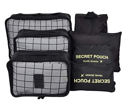 Kleidertaschen-Set 7-teilig Kleidertasche für Koffer Packwürfel Kofferorganizer Ideal für Reise, Seesäcke, Handgepäck und Rucksäcke