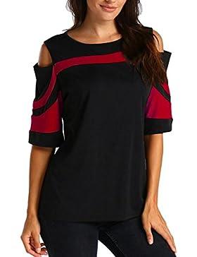 Camisas Mujer, ❤️Xinan Camisa de Blusa de Mujer Sudadera Cold Shoulder de Manga Larga Sudaderas con Capucha
