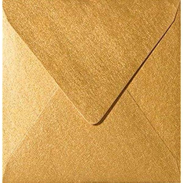Serie: NEUSER PAPIER 50 Quadratische Brief-Umschl/äge 16,5 x 16,5 cm in Wei/ß mit goldenem Seidenfutter 120g//m/² Nassklebung Brief-Kuverts