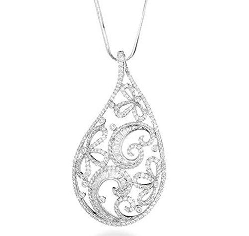 Weiß Gold und Diamanten Anhänger mit Halskette CT 2,95Baguette Diamanten Weihnachten Geschenk für Ihre Geschenk für Ihren Jahrestag Charme Von Luxus Schmuck Marika Gioielli Made in Italien