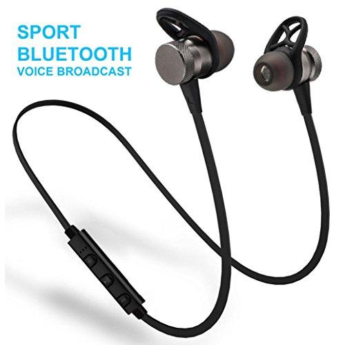 Xshuai 3D Stereo Magnetische Saug-Design Metall Magnet Wireless Bluetooth Kopfhörer Headset Kopfhörer für iPhone iPad Samsung HTC Sony (Gold / Rose Gold / Grau) (Grau) Sony Ipod Shuffle