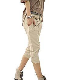 5c0514b718cfde Juleya 3/4 Shorts for Women - Ladies Harem Pants Cropped Capri Trousers  Free Belt
