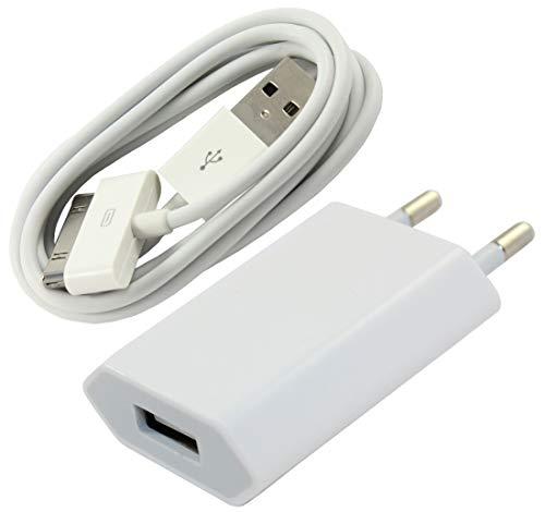hone Ladeset - USB Ladekabel 1 Meter mit 1A Slim Netzteil für iPhone 4, 4s, iPad 1-3, iPod - Weiß ()