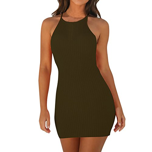 Zottom,kleidersack lang,Damen Sling Sleeveless Holiday Party Minikleid (Deluxe Sexy Pfau Kostüm)
