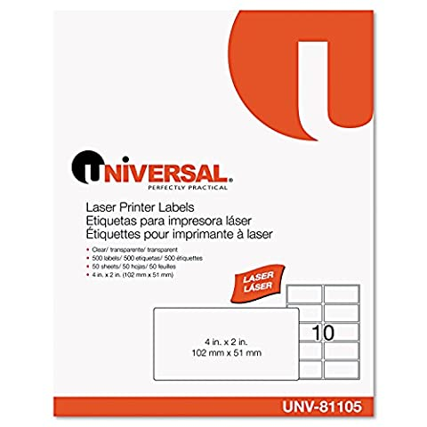 Laser Printer Permanent Labels, 2 x 4, Clear, 500/Box