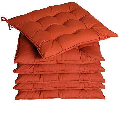 Deuba 6X cojínes Cozy Terracota para sillas almohadones Interior y Exterior Asiento con Cintas de sujetación...