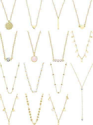 Yaomiao 15 Stücke Layered Choker Halskette für Damen Mädchen Münze Stern Multilayer Kette Halsketten Set Einstellbar (Gold 1) (Halskette Gold)